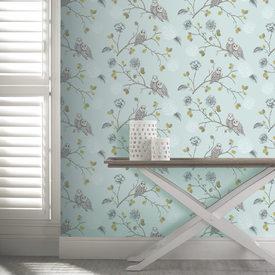 papier peint night owl coloris bleu vintage multicolore papier peint 4murs. Black Bedroom Furniture Sets. Home Design Ideas