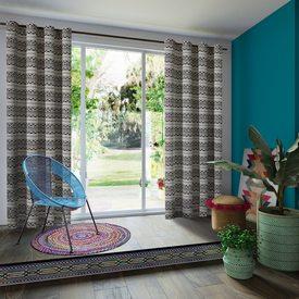 rideau tialoc coloris beige 140 x 250 cm noir rideau 4murs. Black Bedroom Furniture Sets. Home Design Ideas