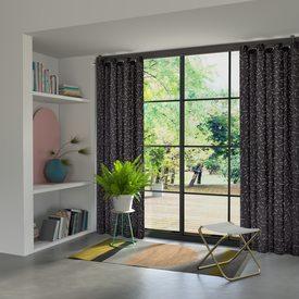 rideau soho coloris noir 140 x 240 cm blanc rideau 4murs. Black Bedroom Furniture Sets. Home Design Ideas