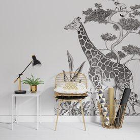 Decor Mural Numerique L Black Jungle Girafe 150 X 270 Cm Poster Intisse 4murs